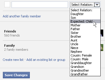 Facebook Expected Child Family Member Feature