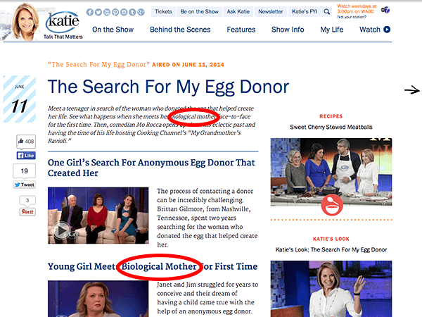No Katie Couric, An Egg Donor is Not a Biological Mother